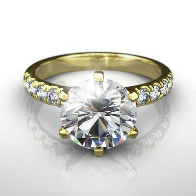 1.75 Carats Estate Accents Awesome Round Brilliant Diamond Ring 18K Yellow Gold