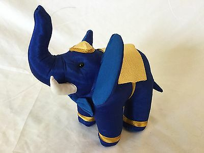 Decorative Blue and Gold Thai Silk Elephant plush Handmade in Thailand S6
