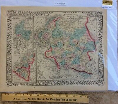 Antique 1874 Mitchell's Atlas Map of Russia in Europe, Sweden & Norway