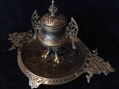 Antique Islamic Brass Inkwell .. 13 inch wide and 7 inch high !