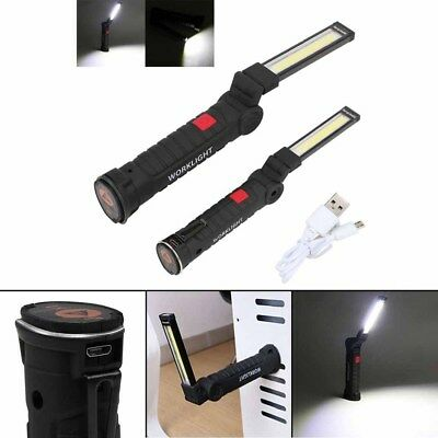 COB LED Rechargeable Work Light Magnet Flashlight with Hook Folding Torch Lamp