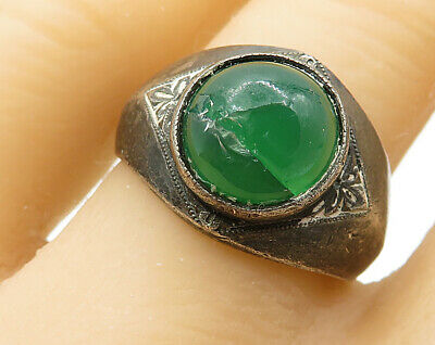 925 Silver - Vintage Antique Green Carnelian Solitaire Ring Sz 8 - R3474