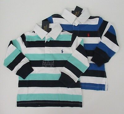 NWT Ralph Lauren Boys Long Sleeve Striped Jersey Rugby Shirt 2/2t 3/3t 4/4t NEW