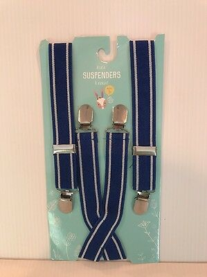 NWT Boy's Kid's Suspenders 1 Count Royal Blue With White Stripe At Edge Age 3+