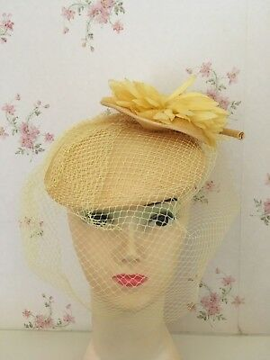 Vintage Straw Perch Hat Yellow Floral Detail & Veil Goodwood Formal Races