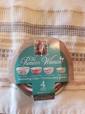 The Pioneer Woman 4 Piece Stoneware Nesting Measuring Bowls/Cups Vintage Floral