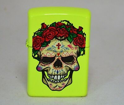 Zippo Windproof Lighter NEON YELLOW Sugar Skull with Roses