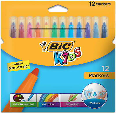 BIC Kids Markers, Washable, Assorted Colors, 12-Count