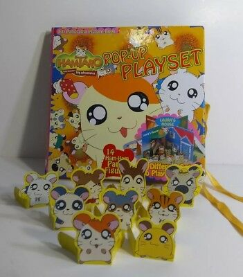 RARE Hamtaro Pop-Up Playset Book 3-D Panorama Picture Book #Z001