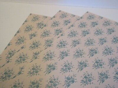 Miniature Dollhouse Wallpaper. J Hermes. Old Rose soft blue/beige Set of 3 sheet