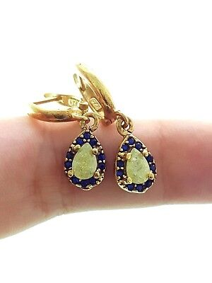 22k Gold Plated Earrings For Woman Turkish Jewelry Handmade 925 Sterling Silver
