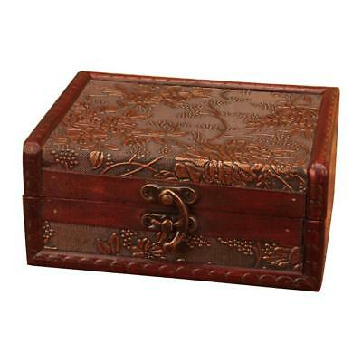 Vintage Trunk Jewelry Box Wine Red Wooden Chest Storage Home Antique Decoration