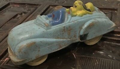 Vintage Cast Iron Disney's Pluto And Donald Duck Car — MISSING HEAD
