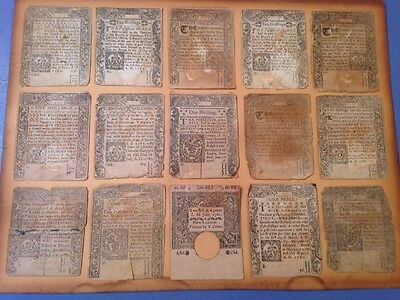 Lot Of 15 Antique Connecticut Colonial & Continental Scrips Paper Money