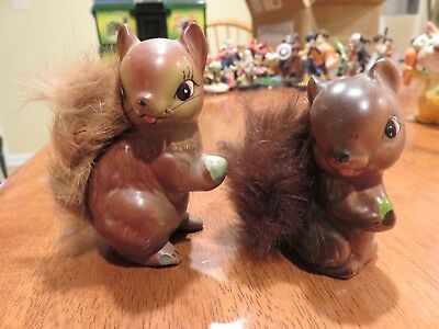 2 Vintage Ceramic Squirrels with Furry Tails (Made in Japan)