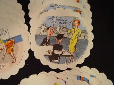 24 vintage paper naughty humor bar coasters