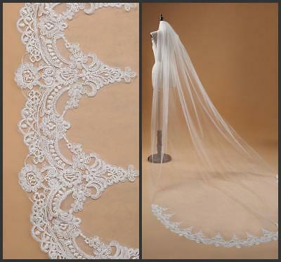 SOFT 1T Cathedral VEIL White/Ivory Lace Edge Long Wedding Veil Bridal veil+comb