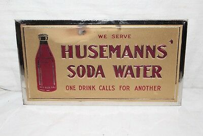 "Vintage 1930's Husemanns Soda Water Pop Gas Oil 12"" Embossed Metal Sign"