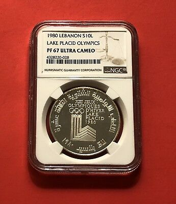Lebanon-10 L.silver Proof Coin,winter Olympic 1980,ngc Graded Pf 67Ultra Cameo