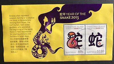 Christmas Island 2013 Year Of The Snake Mini Sheet Fine Used