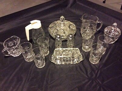 Vintage Ornate Cut Clear Glass- 17 Piece Breakfast Set Candy Dish - Butter/sugar