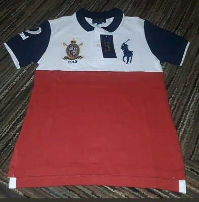 Nwt Polo Ralph Lauren Boys Color Blocked Red White Big Pony Rugby Shirt