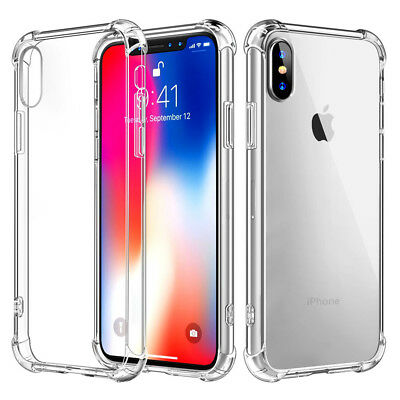 For Apple iPhone X XS Case Gel Rubber Silicone TPU Bumper Cover +Tempered Glass