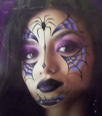 Gothic Princess Witch Vampire Halloween Costume Face Temporary Tattoos Spiders