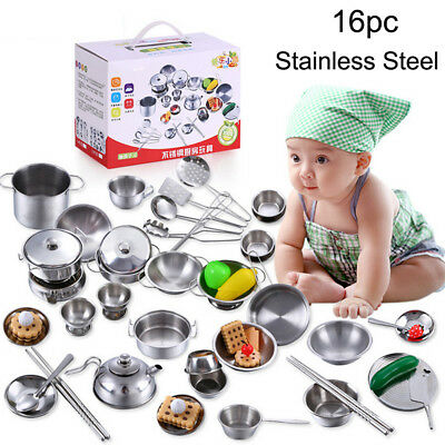 16Pcs Kid Play House Toy Kitchen Utensils Cooking Pots Pans Food Dishes Cookware