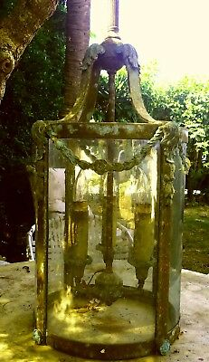 Antique French Louis XVI Bronze Hall Lantern, Vintage Wavy Glass, 3 lamp Patina