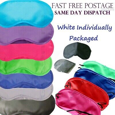 White - Travel Eye Mask, Sleep Sleeping Cover Rest Eyepatch Blindfold Colours