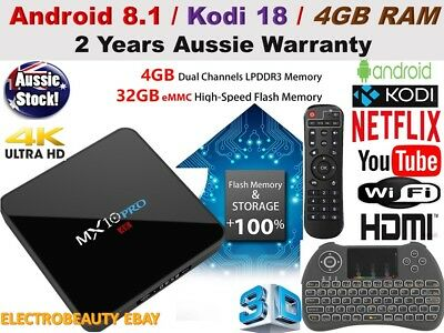 *2019* MX10 PRO Android 9 Wifi  4GB RAM TV BOX KODI 18.0 QuadCore Media Player