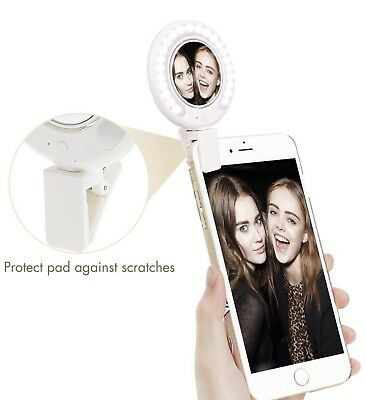 selfie ring light for phone with mirror n clip, portable and rechargeable
