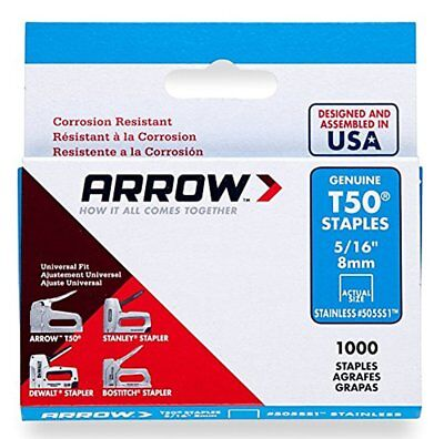 Arrow Fastener 505SS1 Genuine T50 5/16-Inch Stainless Staples, 1,000-Pack