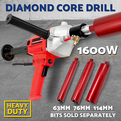 AU 1600W Diamond Core Drill Concrete Wet Drilling 3 Drill Bits 1 1/4 UNC Thread