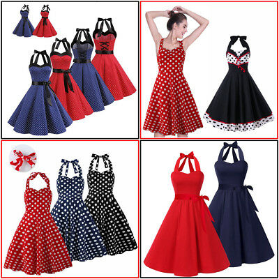 cbdb333495a Women s Vintage 1950s Polka Dot Rockabilly Evening Prom Swing Dress Halter  Neck