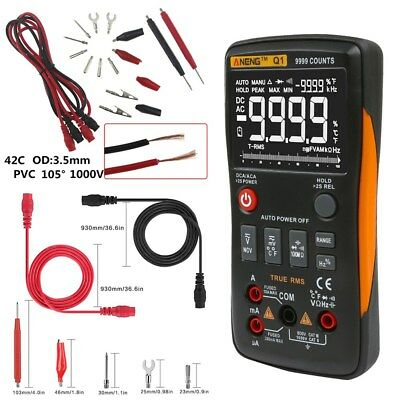 Digital Multimeter Button True-RMS 9999 Counts with Analog Bar Graph ANENG Q1