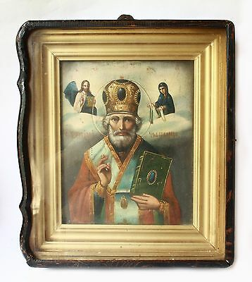 Antique19th C Russian Hand Painted Wooden Icon of St. Nicholas the Wonderworker