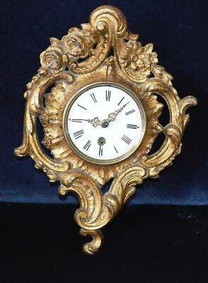 Antique Victorian French Small Cartel Ornate Gilt Metal Wall Clock