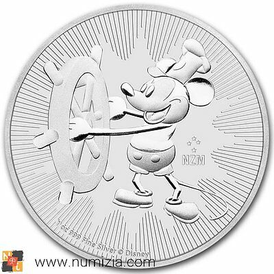 Niue 2 Dollars 2017 Disney Mickey Steamboat Willie 1 Once D'Argent (S / / C)