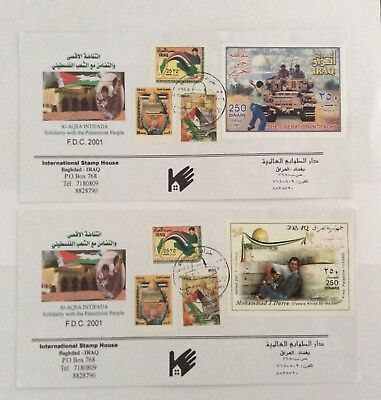 Iraq Stamps: Saddam Hussein Solidarity With Palestinian People 2001 FDC Lot of 2