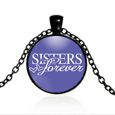 Vintage Sisters Black Dome glass Photo Art Chain Pendant Necklace #TUO499