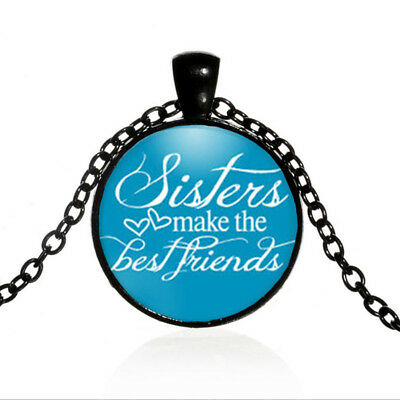 Vintage Sisters Black Dome glass Photo Art Chain Pendant Necklace #TUO496