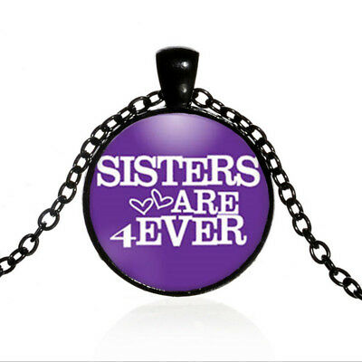 Vintage Sisters Black Dome glass Photo Art Chain Pendant Necklace #TUO495