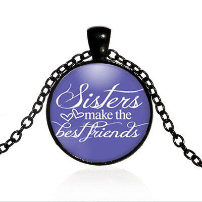 Vintage Sisters Jewelry Black Dome glass Photo Art Chain Pendant Necklace