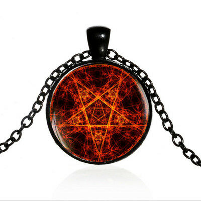 Vintage Fire Pentagram Black Dome glass Photo Art Chain Pendant Necklace