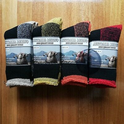 6 Pairs 2-8 Heavy Duty Australian Merino Extra Thick Wool Work Socks