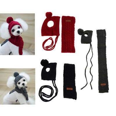 Winter Scarf and Hat Set for Dogs and Cats Pet Dog Puppy Accessory Hat Scarf