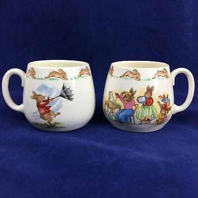 2 Royal Doulton Bunnykins Mug Cup Windy Day Dress Up day Party Children nursery