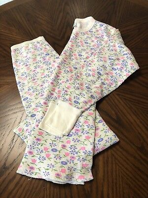 VINTAGE Girl Thermal Underwear With Flowers Long Johns Size 14-16